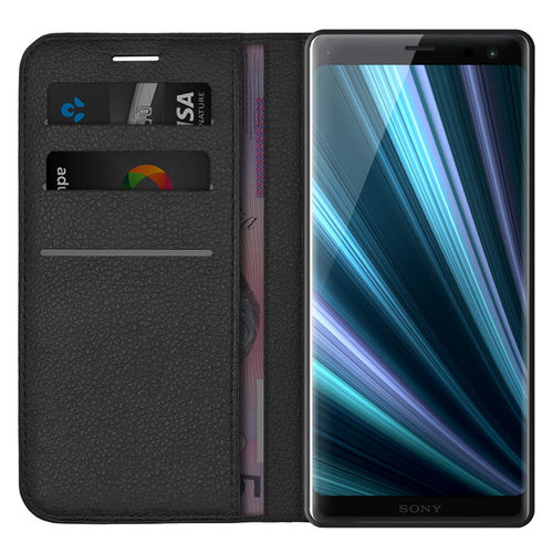 Leather Wallet Case & Card Holder Pouch for Sony Xperia XZ3 - Black
